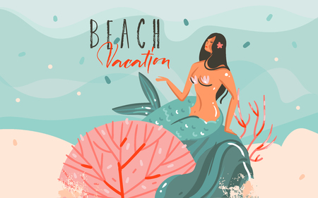 Hand drawn vector abstract cartoon summer time graphic illustrations art template background withunderwater scene,beauty mermaid girl and Beach Vacation typography quote isolated on blue waves Illustration