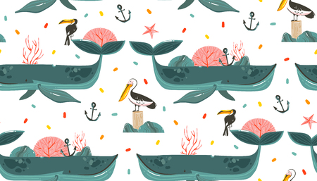 Hand drawn vector abstract cartoon graphic summer time beach scene ocean bottom illustrations seamless pattern with coral reefs,beauty big whales,touan and pelican birds isolated on white background Illustration