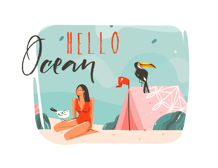 Hand drawn vector abstract cartoon summer time graphic illustrations art template background with ocean beach landscape,pink tent,toucan bird and beauty girl with Hello Ocean typography quote text Illustration