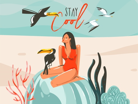 Hand drawn vector abstract cartoon summer time graphic illustrations art template sign background with girl,toucan birds on beach scene and modern typography Stay Cool isolated on white background Illustration