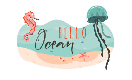 Hand drawn vector abstract cartoon summer time graphic underwater illustrations template background scene with sea bottom,seahorse,jellyfish,starfish and Hello Ocean typography isolated on white