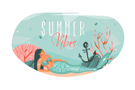 Hand drawn vector abstract cartoon summer time graphic underwater illustrations art template background with ocean bottom,beauty mermaid girl and Summer Vibes text isolated on white Illustration