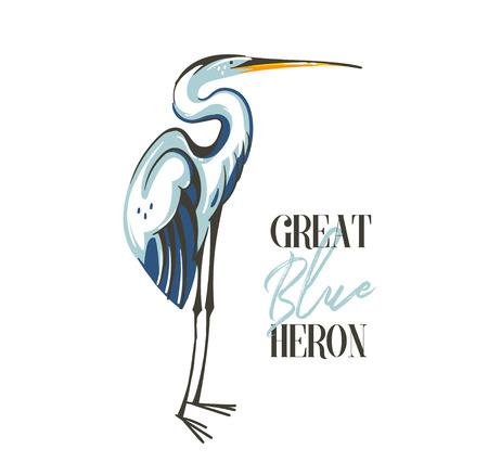 Hand getekende vector abstracte cartoon zomertijd grafische decoratie illustraties kunst met exotische tropische regenwoud Great Blue Heron vogel geïsoleerd op een witte achtergrond Vector Illustratie