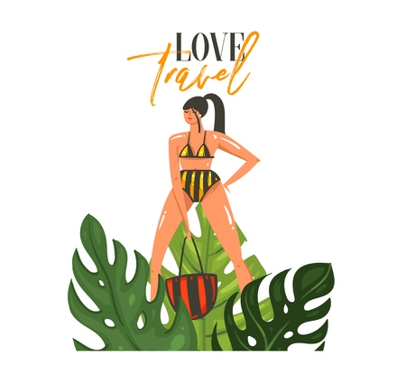 Hand drawn vector abstract cartoon summer time graphic illustrations art template sign background with girl,tropical palm leaves and modern typography Love Travel isolated on white background