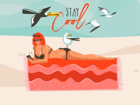 Hand drawn vector abstract cartoon summer time graphic illustrations art template background with girl,relaxing on beach scene with Stay Cool typography quote Illustration
