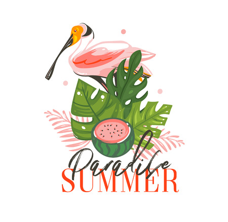 Hand drawn vector abstract graphic cartoon summer time flat illustrations sign with tropical birds ,tropical palm leaves ,watermelon and Paradise Summer typography quote isolated on white background