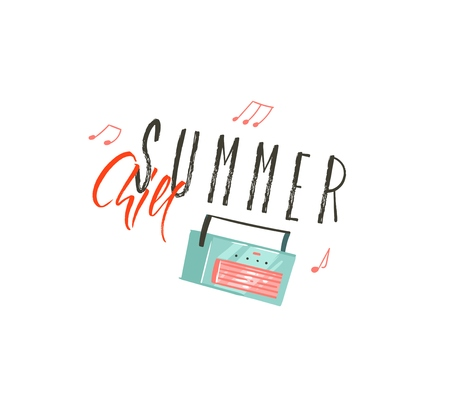 Hand drawn vector abstract cartoon summer time graphic illustrations art with music record player and Summer Chill typography quote isolated on white background