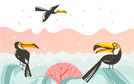 Hand drawn vector abstract cartoon summer time graphic illustrations art with beach sunset scene and tropical toucan birds with copy space place for your text isolated on white background