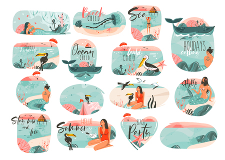 Hand drawn vector abstract graphic cartoon summer time flat illustrations sign big collection set with girl,mermaid,camping tent,toucan birds and typography quotes isolated on white background Illustration