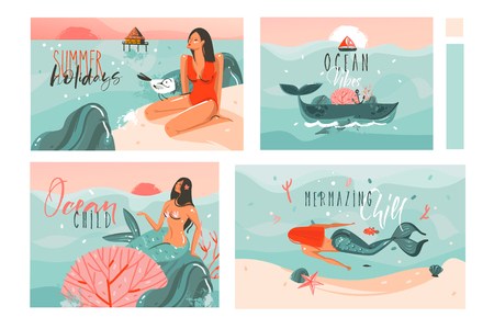 Hand drawn vector abstract graphic cartoon summer time flat illustrations cards template collection set with beach people,mermaid and whale,sunset and tropical birds isolated on white background