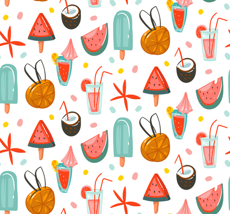 Hand drawn abstract graphic cartoon summer time flat illustrations seamless patterns with cocktails,watermelons and ice cream isolated on white background