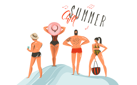 Hand drawn vector abstract graphic cartoon summer time collection flat illustrations set with boys and girl characters on the beach with Summer Chill typography text isolated on white background.