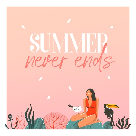 Hand drawn vector abstract cartoon summer time graphic illustrations template cards with girl,sunset,toucan birds on beach scene and modern typography Summer never ends isolated on white background 写真素材