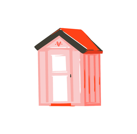 Hand drawn vector abstract graphic cartoon summer time flat illustration with pink beach cabin isolated on white background