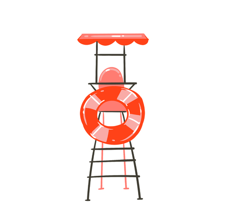 Hand drawn vector abstract graphic cartoon summer time flat illustration with beach lookout tower and float ring buoy isolated on white background