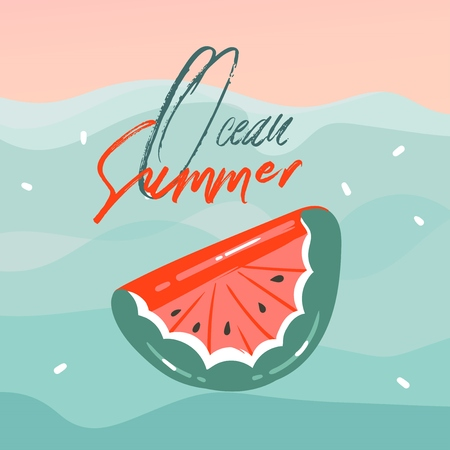 Hand drawn vector abstract cartoon summer time graphic illustrations cards with watermelon rubber float buoy in blue waves,sunset and Ocean Summer typography text isolated on pink pastel background
