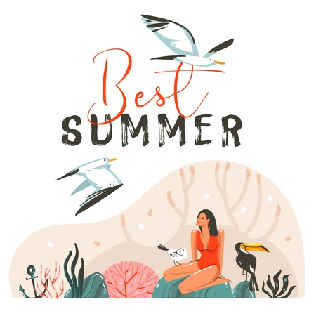 Hand drawn vector abstract cartoon summer time graphic illustrations template cards with girl,sea gull birds on beach scene and modern typography Best Summer isolated on white background