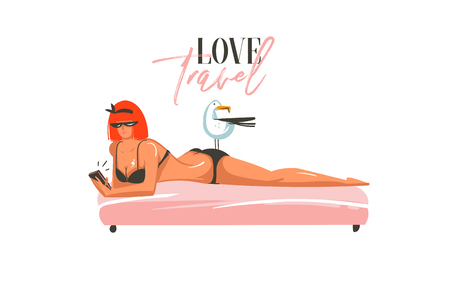 Hand drawn vector abstract cartoon summer time graphic illustrations art template sign background with girl,relaxing on beach scene and modern typography Love Travel isolated on white background.