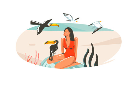 Hand drawn vector abstract cartoon summer time graphic illustrations art template sign background with girl,relaxing on beach scene and tropical birds isolated on white background