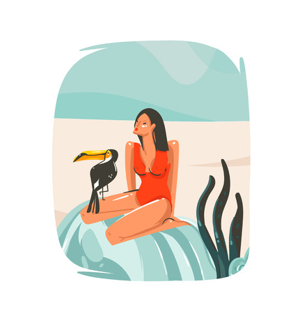 Hand drawn vector abstract cartoon summer time graphic illustrations template sign background with girl,relaxing on beach scene and tropical bird isolated on white background