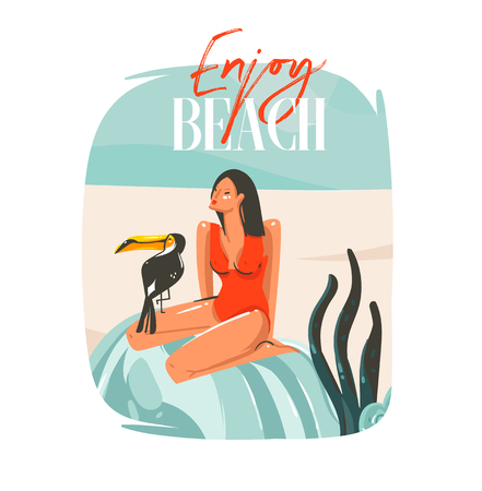 Hand drawn vector abstract cartoon summer time graphic illustrations template sign background with girl,relaxing on beach scene,tropical bird and Enjoy Beach typography isolated on white background  イラスト・ベクター素材