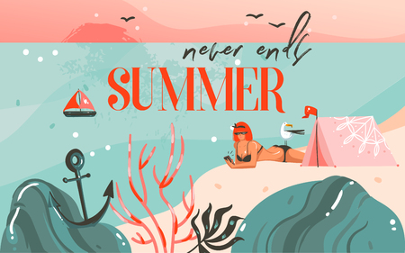 Hand drawn vector abstract cartoon summer time graphic illustrations art background with ocean beach landscape,pink sunset,camping tent and girl on beach scene and summer never ends typography. Archivio Fotografico - 112451629