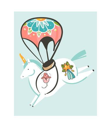 Hand drawn vector abstract graphic creative cartoon illustrations artwork with simple flight unicorn character with parachute and old school tattoo isolated on white background.