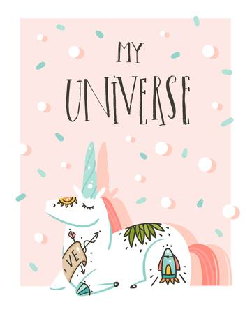Hand drawn vector abstract graphic creative cartoon illustrations poster card template with astronaut unicorn with old school tattoo, planets and My Universe calligraphy isolated on pastel background Illustration