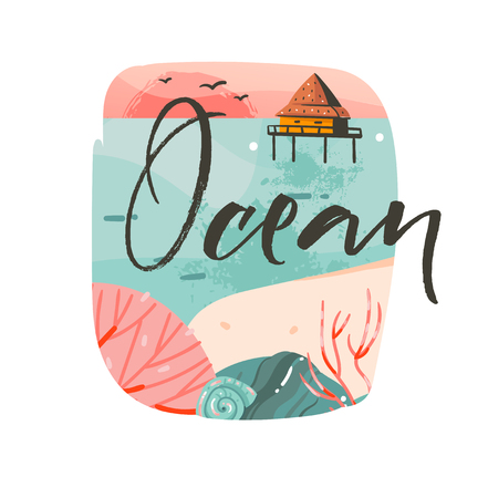 Hand drawn vector abstract cartoon summer time graphic illustrations template background logo design with ocean beach landscape,pink sunset and beach cabin house with Ocean typography text