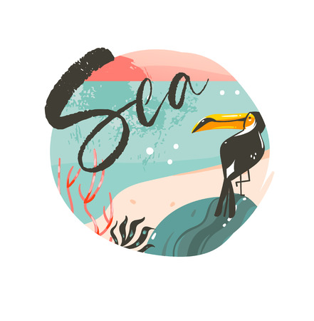 Hand drawn vector abstract cartoon summer time graphic illustrations template background badge design with ocean beach landscape,pink sunset and beauty toucan bird with Sea typography text