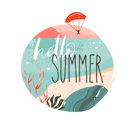 Hand drawn vector abstract cartoon summer time graphic illustrations art template background logo design with ocean beach landscape,sunset and Hello Summer typography quote