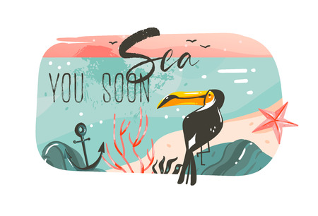 Hand drawn vector abstract cartoon summer time graphic illustrations art template banner background with ocean beach landscape,pink sunset view,beauty toucan with Sea you soon typography quote