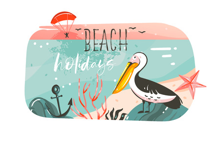 Hand drawn vector abstract cartoon summer time graphic illustrations banner background with ocean beach landscape,pink sunset view,pelican bird and Beach holidays typography quote isolated on white