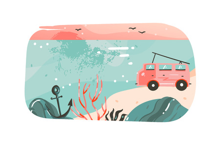 Hand drawn vector abstract cartoon summer time graphic illustrations art template banner background with ocean beach landscape,pink sunset view,van camper car and copy space place for your text