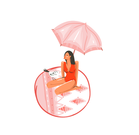 Hand drawn vector abstract cartoon summer time graphic illustrations art with gull bird and beauty girl under pink bohemian umbrella on beach mat isolated on white background  イラスト・ベクター素材