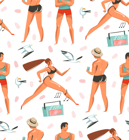Hand drawn vector abstract cartoon summer time graphic illustrations artistic seamless pattern with people,beach gull birds,record player and beauty running girl on beach isolated on white background.
