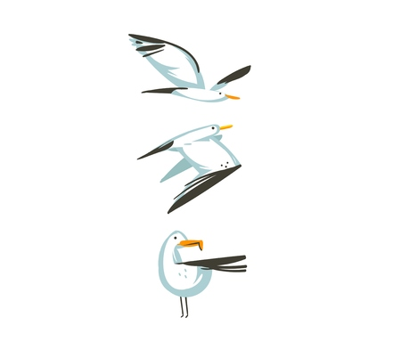 Hand drawn vector abstract cartoon summer time graphic decoration illustrations collection set art with flying sea gulls birds isolated on white background.