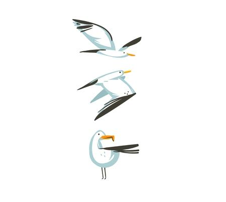 Hand getekende vector abstracte cartoon zomertijd grafische decoratie illustraties collectie set kunst met vliegende zeemeeuwen vogels geïsoleerd op een witte achtergrond. Vector Illustratie