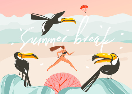 Hand drawn vector abstract cartoon summer time graphic illustrations art template background with ocean beach landscape,pink sunset,toucan birds and running beauty girl with Summer break typography.