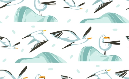 Hand drawn vector abstract cartoon summer time graphic illustrations artistic seamless pattern with flying sea gulls birds on beach isolated on white background.