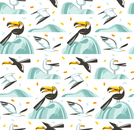 Hand drawn vector abstract cartoon summer time graphic illustrations artistic seamless pattern with flying sea gulls and tropical toucan birds on beach isolated on white background. Illustration