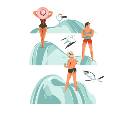 Hand drawn vector abstract graphic cartoon summer time collection flat illustrations set with boys and girl characters on the beach with beach stones and flying sea gulls isolated on white background.