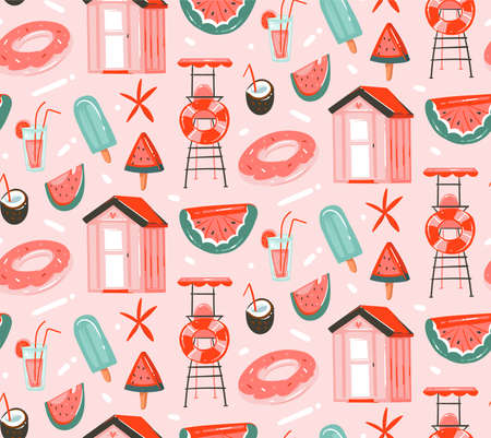 Hand drawn vector abstract graphic cartoon summer time flat illustrations seamless patterns with cocktails,watermelons float and ice cream and beach cabin isolated on pink pastel background. Ilustração