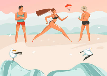 Hand drawn vector abstract cartoon summer time graphic illustrations art template background with ocean beach landscape,pink sunset,boys and running girl on beach scene.