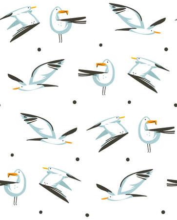 Dibujado a mano vector de dibujos animados abstractos horario de verano ilustraciones gráficas artísticas de patrones sin fisuras con gaviotas volando en la playa aislada sobre fondo blanco. Ilustración de vector