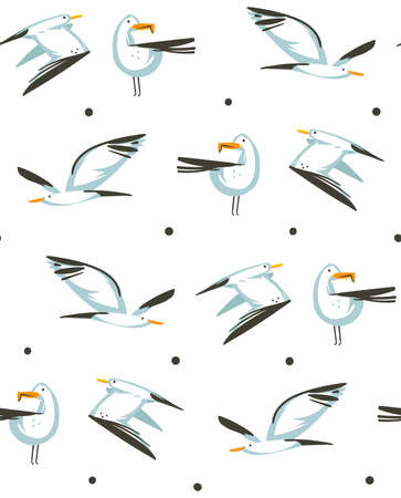 Hand drawn vector abstract cartoon summer time graphic illustrations artistic seamless pattern with flying sea gulls on beach isolated on white background.