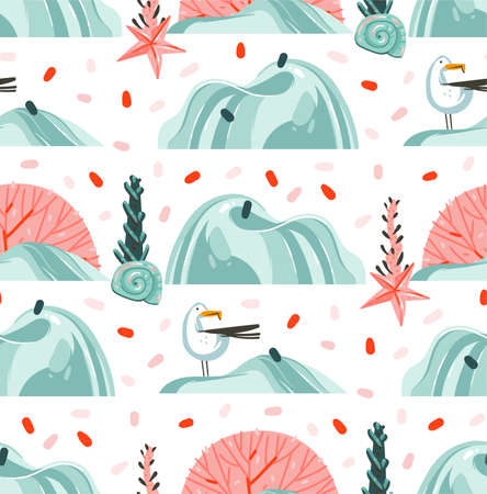 Hand drawn vector abstract cartoon summer time graphic illustrations artistic seamless pattern with flying sea gulls,stones,coral reefs ,seaweeds and shell on beach isolated on white background