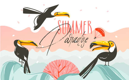 Hand drawn vector abstract cartoon summer time graphic illustrations art with beach sunset scene and tropical toucan birds with Summer Parsdise typography text isolated on white background.