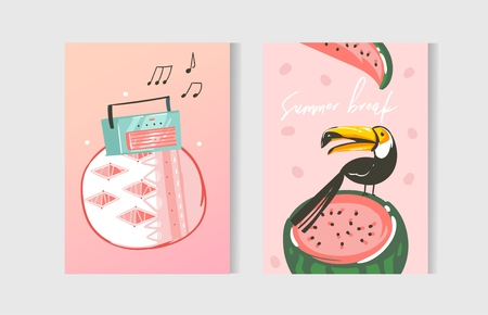Hand drawn vector abstract graphic cartoon summer time flat illustrations cards template collection set with beach ,sunset,watermelon and tropical toucan bird isolated on white background.