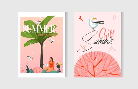 Hand drawn vector abstract graphic cartoon summer time flat illustrations cards template collection set with beach people,palm tree,sunset and marine coral reef isolated on white background. Imagens